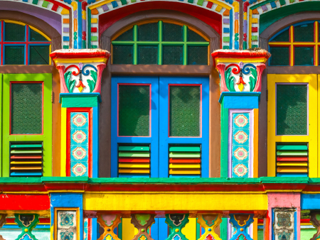 Colourful Chinatown house fronts